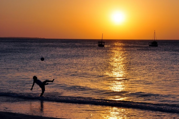 Footballer at Sunset